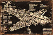Metal Tin Sign airplane lay out Pub Home Vintage Retro Poster Cafe ART