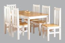 Ludlow Farmhouse Style Pine and White Dining Set With 6 Chairs