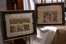 Coppia di quadri a tecnica mista su papiro con soggetto egizio + cornice egypt