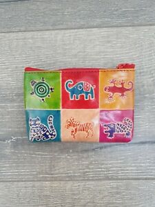 Gringo Fairtrade Multi Coloured Leather Animal Stamped Zip Coin Purse 13 x 9 cm