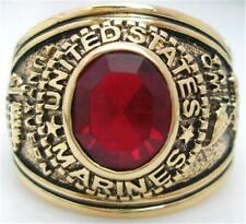 18K EP GOLD US MARINES MILITARY INLAY RING sz 8 or Q ruby