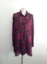 Relaxed Style! Trent Nathan size 14 viscose plum long sleeve shirt