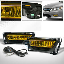 YELLOW CLEAR BUMPER FOG LIGHTS LAMPS+SWITCH KIT PT 2013-2015 HONDA ACCORD 4D/4DR