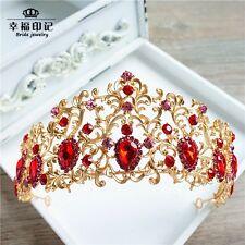 Gold Baroque Bridal Crowns Tiara Red Rhinestone Wedding Bride Hair Accessories