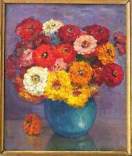 tableau original Marguerite Charrier Roy bouquet fleurs zinnias