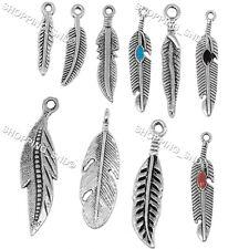100pcs Lot Tibetan Silver Feather Mix Pendants For Necklace Bracelet Making DIY