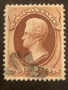 Superb! US Stamp Scott #135 2c Red Brown Jackson Grill w/ Cancel SCV - $80