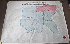 Large Antique Fabric Backed Government Act 1894 Hawkshead Skelwith Coniston Map