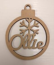 Personalised Christmas bauble. Wood, Decoration, Home, Craft, Gift.