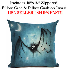 "18x18 18"" 18in MOON NIGHT BATS HALLOWEEN Zippered Throw Pillow Case & Cushion"