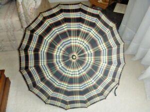 Vintage Umbrella Plaid Nylon Mid Century Clear Lucite Handle Nice!