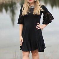 LuLaRoe Women's Lace Bell Sleeves Maurine Dress Size S/M Black