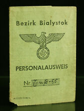 1943 Germany ID Card Personalausweis Occupied WWII Biezirk Bialystok Passport