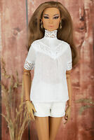 ELENPRIV white short sleeved batiste blouse w/lace Fashion Royalty FR:16 dolls