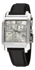 Burberry Black Leather Band Strap Silver Square Chrono. Dial Watch BU1564