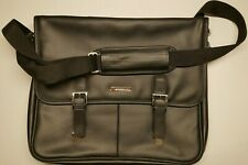 Alpine Swiss Leather Briefcase Laptop Case Messenger Bag Black Free Shipping!