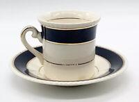 Vtg Fondeville Ambassador Ware England Black & Cream Demitasse Cup and Saucer