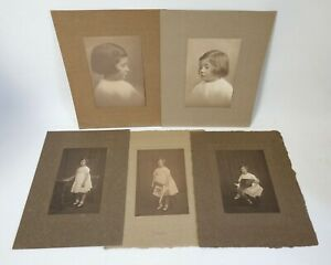 5 antique studio portrait photographs of young girl by George Charles Beresford