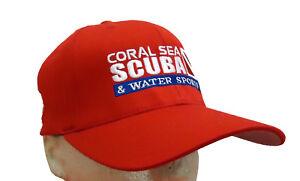 Coral Sea Scuba Logo Diving Dive Hat Diver Cap Flag Red LG/XL