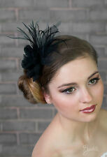 New Womens Girls Wedding Bridal Prom Black White Ivory Hair Fascinator Hat UK