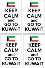 KEEP CALM AND GO TO KUWAIT - Arab / Western Asia x 4 VINYL STICKERS - 14cm x 9cm