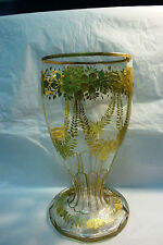 "MOSER CRYSTAL VASE 10 1/2"" TALL, 5 1/4"" DIA.  CUT DESIGN - ALL GOLD EMBELLISHED"