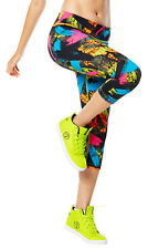 Authentic New Da Zumba Funk Perfect Capri Leggings Pants ~ Black  ~  2XL  ~  NWT