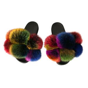 Women Pom Pom Fur Slippers Fluffy Real Fox Fur Slides Furry Raccoon Fur Sandals
