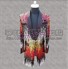 Shiny Mens Sequins Colorful Bling Suit Blazer New Bar Coat Jacket Dress Costume