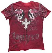 Amplified Saints Sinners Holly Skull Gothic Cross estrella de rock pedrería t-shirt s 46