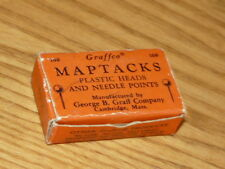 Vintage GRAFFCO Maptacks Plastic Heads & Needle Points - 62 pieces in Box