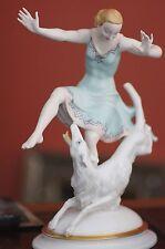 Porzellanfigur Tänzerin mit Hund Hutschenreuter Kunstabteilung