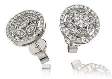 Diamond Halo Earrings 0.60ct F VS in 18ct White Gold