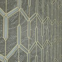 Charcoal gray gold metallic faux carbon textured Wallpaper Geometric lines 3D