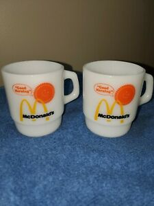 2 Fire King McDonald's Good Morning Milk Glass Coffee Mugs Cups Anchor Hocking