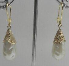 VINTAGE White Faux Tear Drop Pearls Pendants KIDNEY GT. EARRINGS