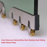5.0mm Glass Stainless Steel Sliding Roller Pulley Display Cabinet Door 8Pcs