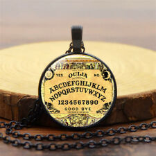 Retro Halloween Costume Ouija Board Necklace Pendant long Chain Glass Cabochon