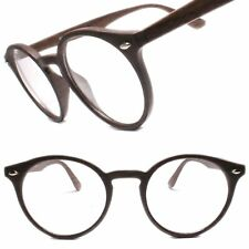 Mens Classy Elegant Retro Style Round Clear Lens Eye Glasses Faux Wood Frame