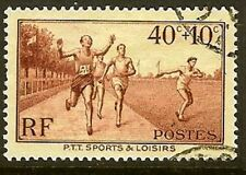 "FRANCE TIMBRE STAMP YVERT N° 346 "" PTT SPORTS 40c+10c "" OBLITERE TB"