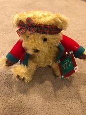 "NEW Hallmark Merrily Bear Plush Christmas Stuffed Tags 10"" Plaid Red Green"