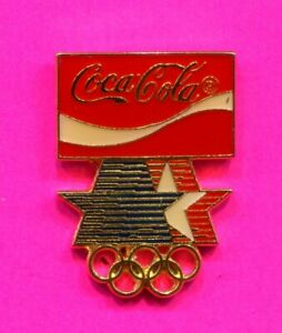 1984 OLYMPIC PIN COCA COLA PIN PROTOTYPE RED WITH WHITE BAND PIN LA DOMED ENAMEL