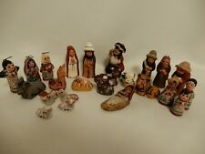 Mexican Hand Painted Clay Nativity Creche 24 Pieces Vintage