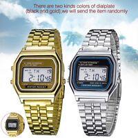 1x New Fashion Retro Unisex Stainless Steel LED Digital Led Wrist Watch Gift  WE