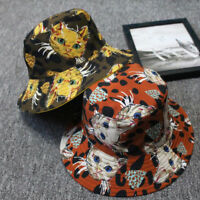 Eg _Au _ Moda Unisex Disegno Gatto Reversibile Cotone Cappello da Pescatore