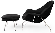 HIGH-END Womb Style Chair and Ottoman Black, Mid-Century Modern Lounge Saarinen