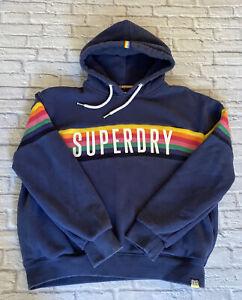 Super Dry Rainbow Hoodie Blue Ladies Size 12