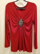 New KAREN KANE Size Large Red Long Sleeve Beaded Bodice Top