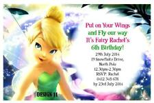 1 x DISNEY TINKERBELL GIRLS PERSONALISED BIRTHDAY PARTY INVITATIONS + MAGNETS