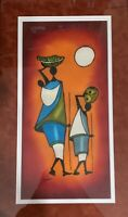 African - Native - Village - Mother and Daughter - Water Basket - Signed